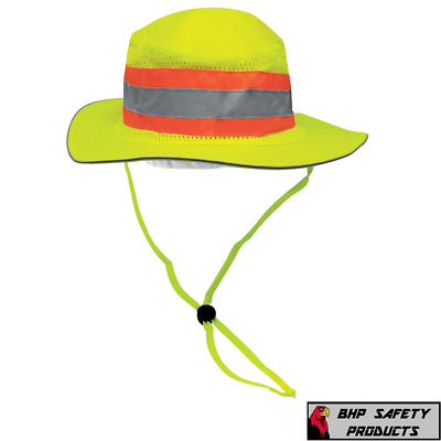 Hi-Vis Reflective Ranger Style Shading Hat Construction Safety Boonie Cap