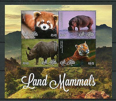 St Kitts 2016 MNH Land Mammals Tigers Rhinos Hippos Pandas 4v M/S Animals Stamps
