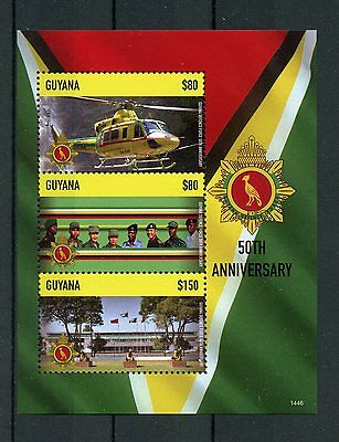 Guyana 2014 MNH Defence Forces 50th Anniv 3v M/S Helicopters Military Stamps