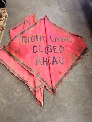 "Road Work Right Lane Closed Mesh Sign 48""x48"" Traffic W Bracket"