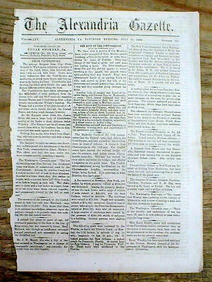 1864 Alexandria VIRGINIA Civil War newspaper w CONFEDERATE JOHN SINGLETON MOSBY