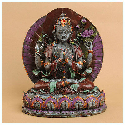 Chenrezig --Avaloketesvara  Hand Painted In Detail 14 Inch--Polystone/resin