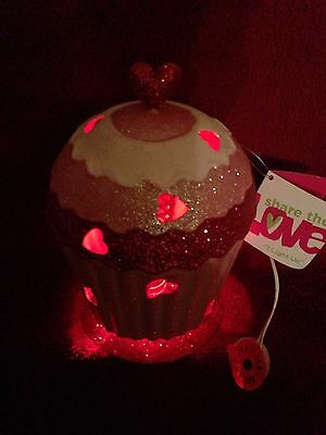 Share the Love Light Up Red Hearts Mothers Valentines Day Spring Bobbing Cupcake