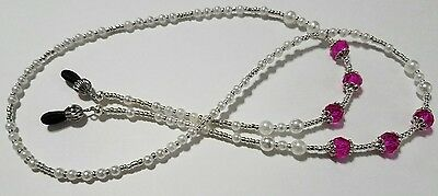 Classic Pearl Hot Pink Beaded Eyeglass Reading Glasses Chain Lanyard Necklace