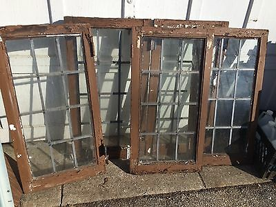 5 Antique Leaded Glass Wood Windows  Architectural Salvage Cabinet Doors