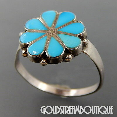 Vintage Zuni Sterling Silver Turquoise Inlay Floral Handmade Ring Sz 8.25
