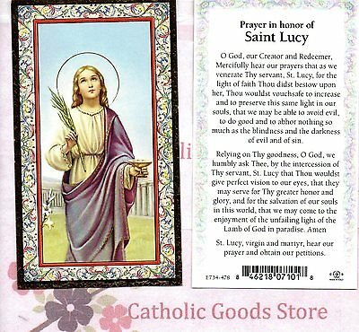 Saint Lucy Laminated Holy Card St Saint Lucy Prayer In Honor Of St