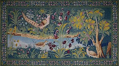 """Amazing Hand Worked vintage French Wall Hanging Tapestry by Robert Four 79""""x 44"""""""