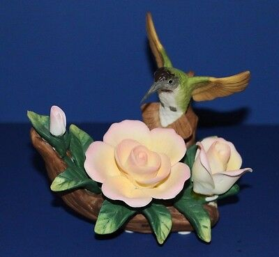"Wellington Porcelain Hummingbird with Three Roses figurine 5"" high"