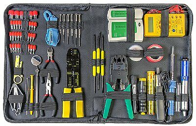 66 Piece PC Repair Toolkit Network Tester Digital Multimeter Cable Stripper Tool