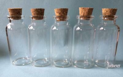 10pcs 20ml Empty Sample Vials Clear Glass Bottles with Corks Jars 65*28*20mm