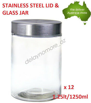 12 x Stainless Steel Screw Top lid Glass Jar Party Food Storage 1250ml jars  NEW