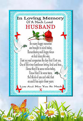 Husband In Memory Memorial Bereavement Graveside Keepsake Card & Free Holder