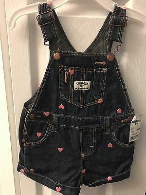 OSHKOSH Cotton Denim with Embroidered Hearts Overalls Shorts NWT Baby Girls 18 M