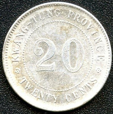 China Kwangtung Province 1922 20 Cent Silver Coin