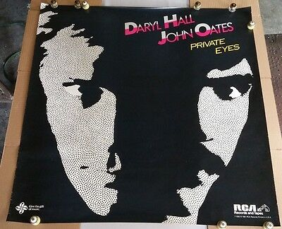 "Original HALL&OATES ""Private Eyes"" InStore Promo POSTER-RCA-1981"