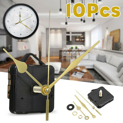 10x Long Spindle Gold Hands Wall Quartz Clock Movement Mechanism DIY Repair Part