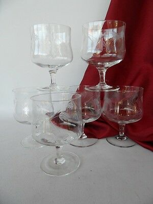 Vintage Set Of 6 Cut Glass Footed Dessert Bowl Glasses Wheat Pattern