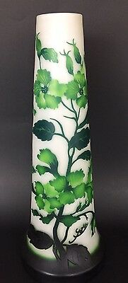 Emil Gallé Green Flowers Vase Signed Cameo Art Glass Large Stunning