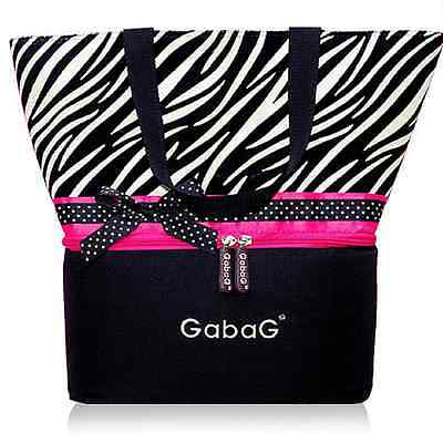 Gabag Baby Cooler Bag, Breastfeeding, Lunch Picnic & 2 Packs of Ice Gel - Zebra