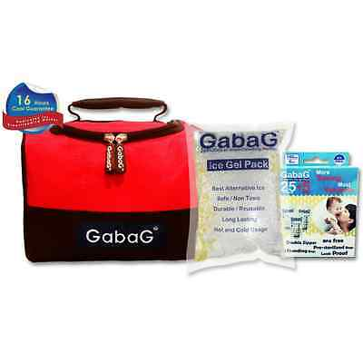 Gabag Milk Cooler Bag with Pack of 30 Breastmilk Bags and Ice Gel Pack - Red