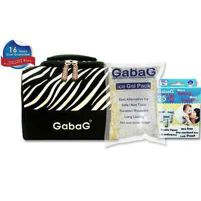 Gabag Milk Cooler Bag with Pack of 30 Breastmilk Bags and Ice Gel Pack - Zebra