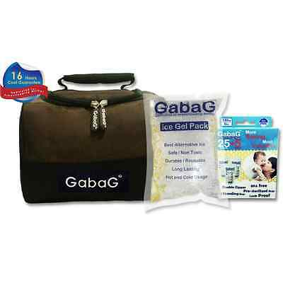 Gabag Milk Cooler Bag with Pack of 30 Breastmilk Bags and Ice Gel Pack - Brown