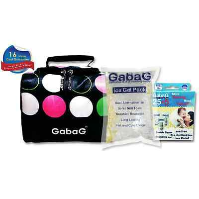 Gabag Milk Cooler Bag with Pack of 30 Breastmilk Bags and Ice Gel Pack - Dotty