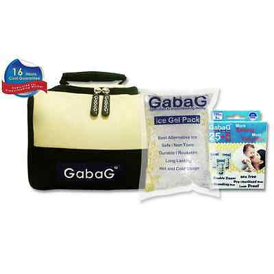 Gabag Milk Cooler Bag with Pack of 30 Breastmilk Bags and Ice Gel Pack - Beige