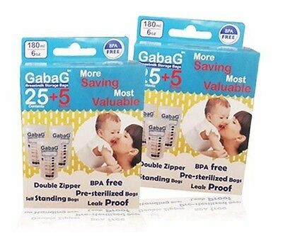 Breast Milk Storage Bag Pack of 30 BPA Free Sterilised for Breastfeeding Gabag