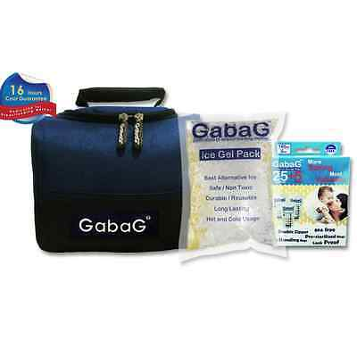 Gabag Milk Cooler Bag with Pack of 30 Breastmilk Bags and Ice Gel Pack - Blue