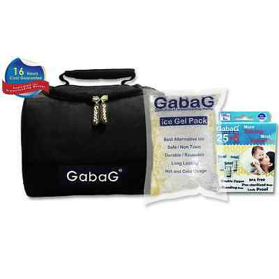 Gabag Milk Cooler Bag with Pack of 30 Breastmilk Bags and Ice Gel Pack - Black