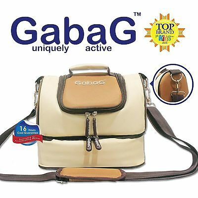 Gabag Baby Cooler Bag, Breastfeeding, Lunch &Travel & 2 Packs of Ice Gel - Beige