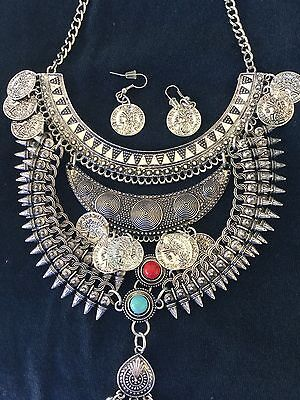 Egyptian Bedouin Silver mix Metal,Turquiose Blue,Red Art Deco Necklace,Earings S