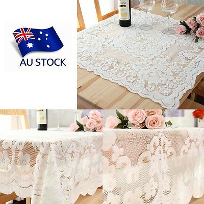 AU STOCK Lace White Floral Square Tablecloth Home Party Dining Table Cover Decor