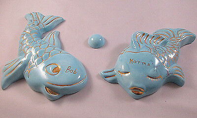 Vintage Pair Blue Ceramic Male and Female Fish Wall Hangings With One Bubble