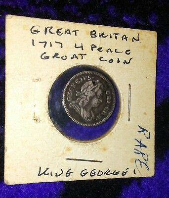 1717 Great Britain 4 Pence Groat Coin Rare
