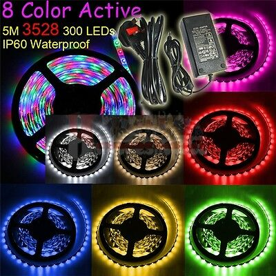 5M 2835 SMD 300 LEDs Waterproof Flexible Strip String Light/12V 5A Power/Remote