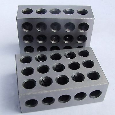 Hfs 1 Pair 123 Blocks 1-2-3 Ultra Precision .0002 Hardened 23 Holes 0.0001""