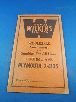 Advertising Notebook Thomas Wilkins Limited Wholesale Sundries Toronto Canada