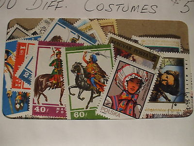 COSTUMES 100 DIFFERENT STAMPS,  nice selection from around the world