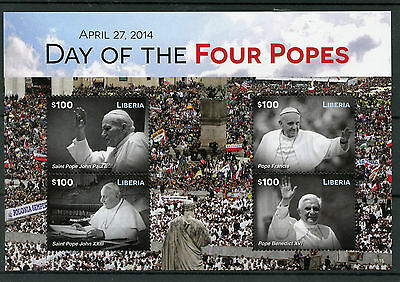Liberia 2015 MNH Day Four Popes 1v S/S Pope Benedict Francis John Paul II Stamps