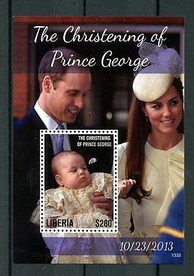 Liberia 2013 MNH Christening Prince George 1v S/S William Kate Royalty Stamps