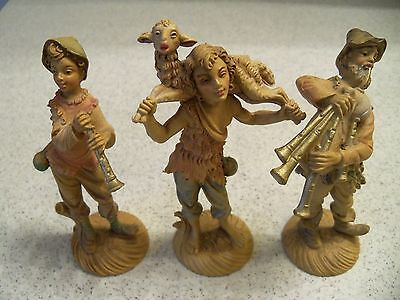 Vintage Italian Plastic Nativity Pieces~Musicians & Shepperd~Italy~4 1/4-5 Inch