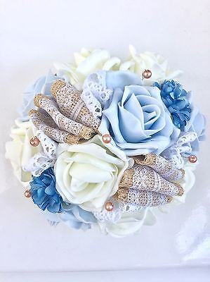 Blue Ivory Roses Hessian Lace Rustic Vintage Wedding Flowers Bridesmaid Bouquet