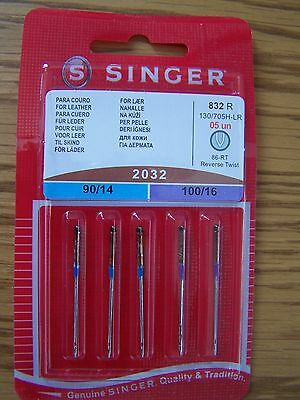 Singer Sewing Machine Needles 2032 Pack Of 5 Mixed For Leather + Free P/p