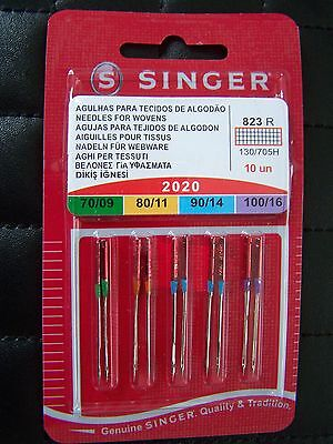 SINGER SEWING MACHINE NEEDLES 2020- MIXED PACK of 10 FOR WOVENS FREE P/P