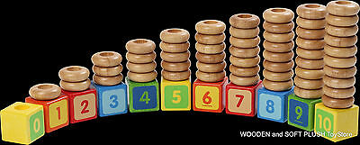 *NEW child's Educational wooden toy STACKING NUMBERS counting subtracting SHAPES