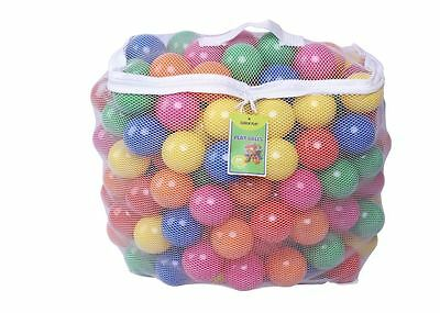 Ball Pit Pack of 200 6 Bright Colors w Durable Storage Mesh Bag with Zipper