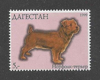 Dog Art Body Study Portrait Postage Stamp NORFOLK TERRIER Dagestan 1999 MNH